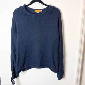 One A braided sleeve navy sweater LARGE